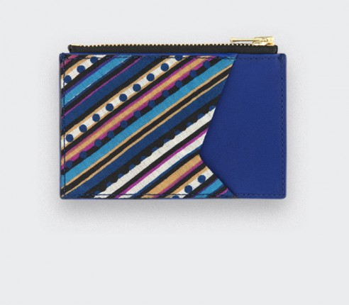 Card holder Dots Stripes 50s - leather and vintage cotton - CINABRE Paris