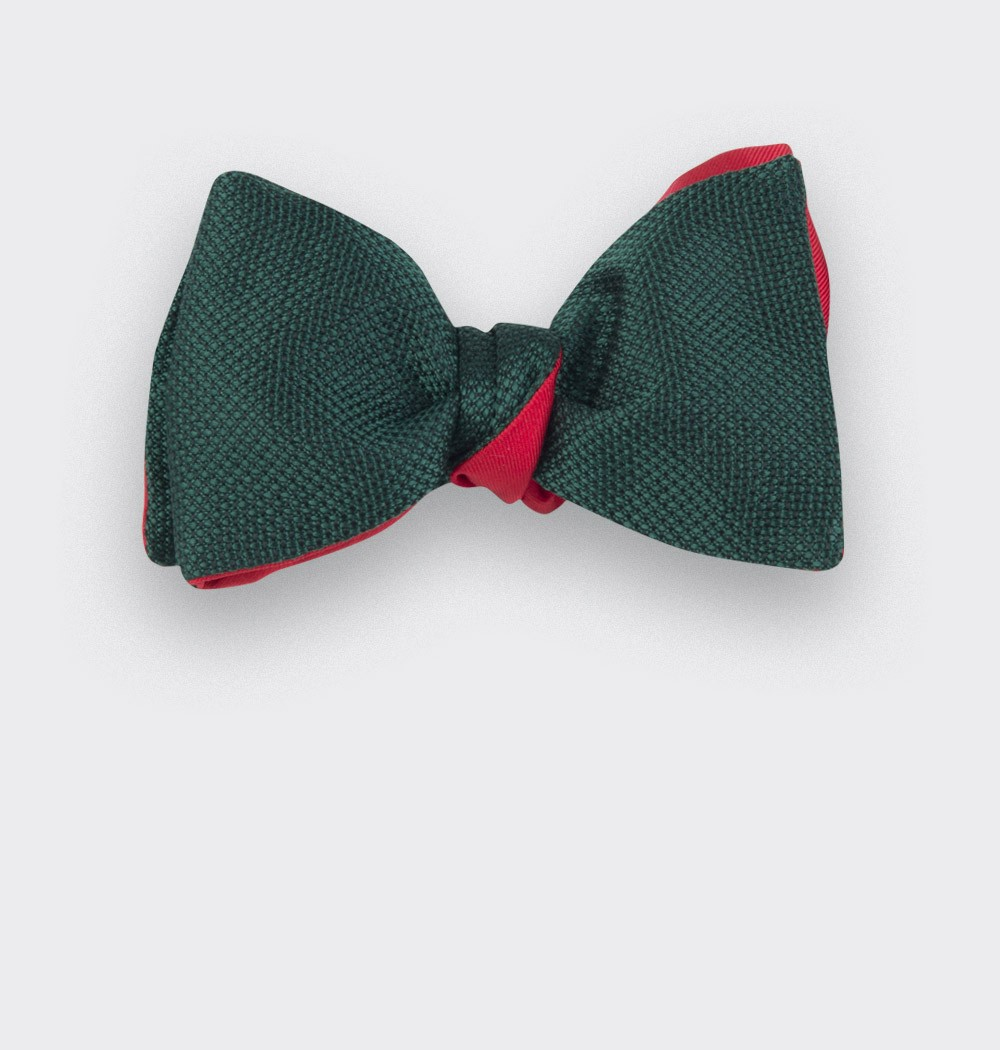 Green Woven Silk bow tie - silk - handmade in France by CINABRE Paris