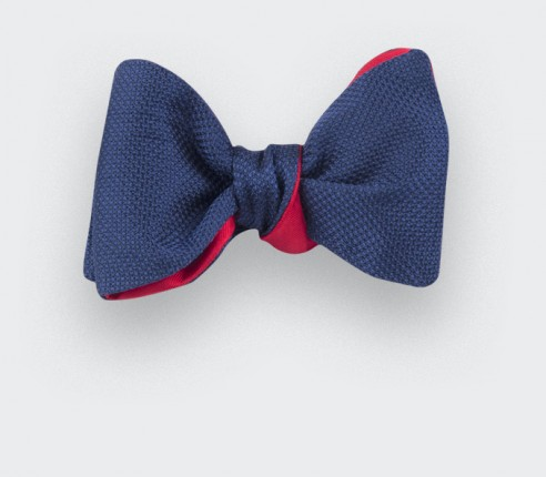 Navy Blue Woven Silk bow tie - silk - handmade in France by CINABRE Paris