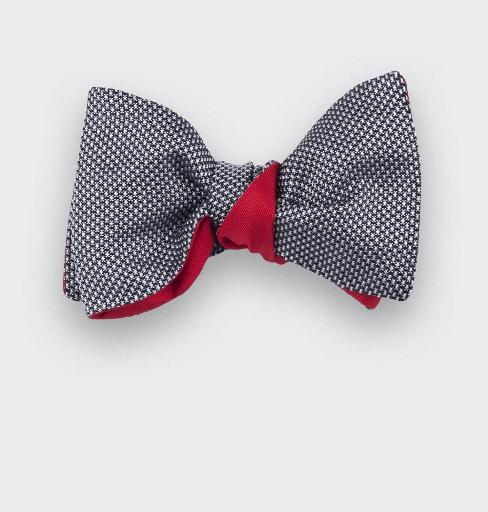 Noeud papillon soie tissée noir et blanc - soie - CINABRE Paris