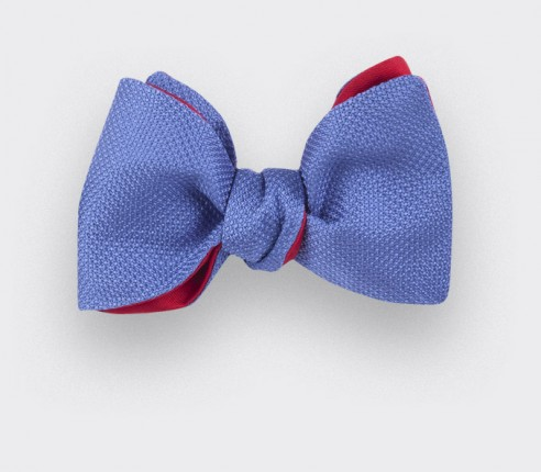 Noeud papillon soie tissée bleu denim - soie - CINABRE Paris