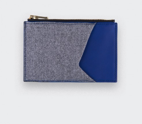 Card holder Grey Flannel - leather and wool - CINABRE Paris