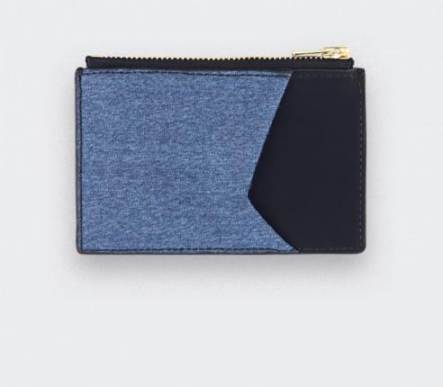 Porte carte Flanelle Bleu - cuir et laine - CINABRE Paris