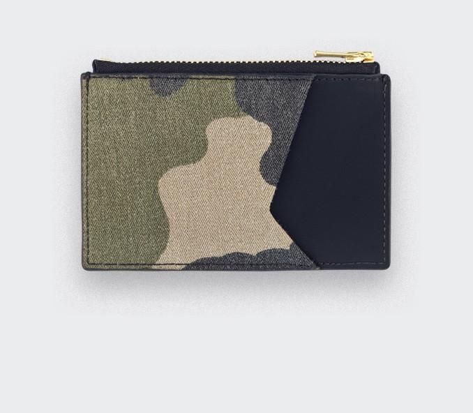 Porte cartes Opex Camo - cuir et coton vintage - CINABRE Paris