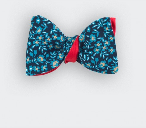 blue flower bow tie - silk - cinabre paris