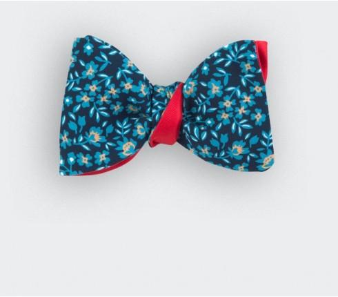 noeud papillon fleurs bleu - soie - cinabre paris