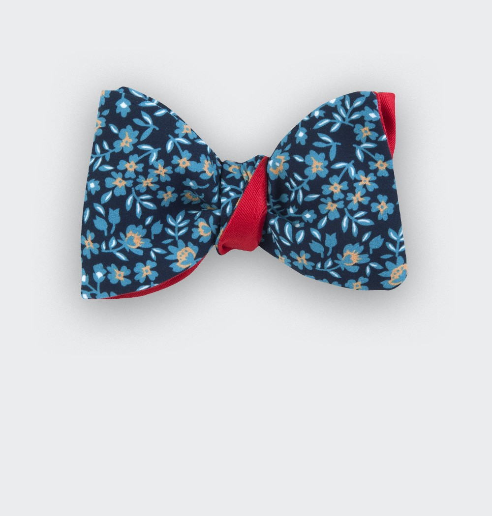 blue flower bow tie - cotton - cinabre paris