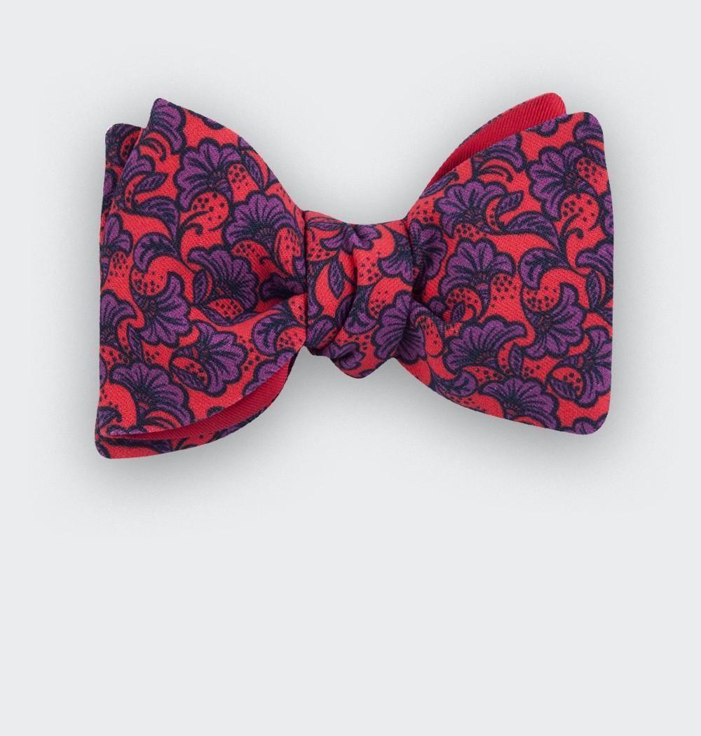 noeud papillon fleuri rouge - coton - cinabre paris