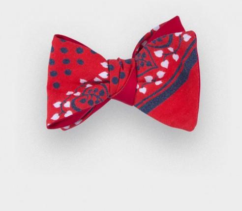 red bandana bow tie - cotton - cinabre paris