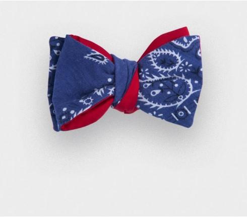 blue denim bandana bow tie - cotton - cinabre paris