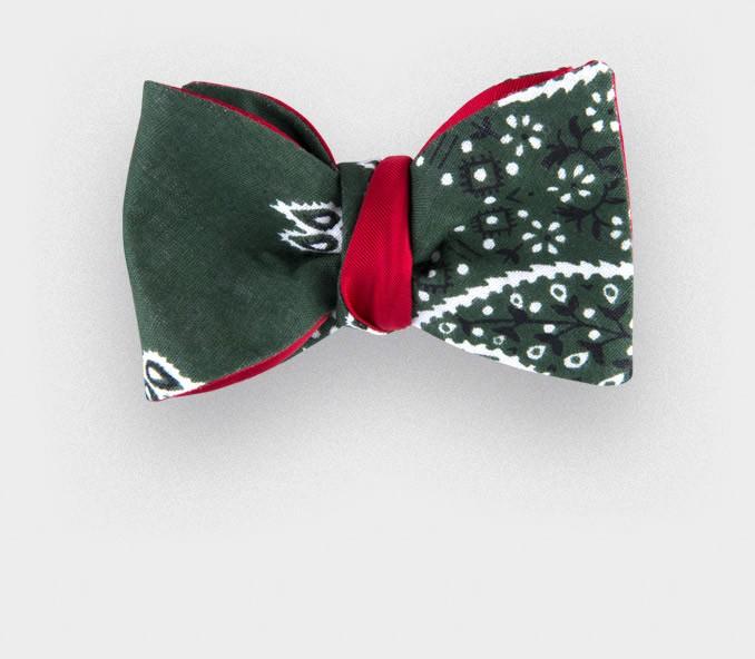 green bandana bow tie - cotton - cinabre paris
