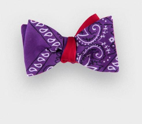 purple bandana bow tie - cotton - cinabre paris