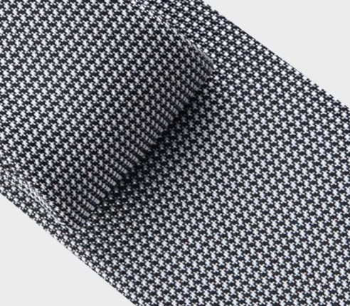 black and white woven silk tie - silk - cinabre paris