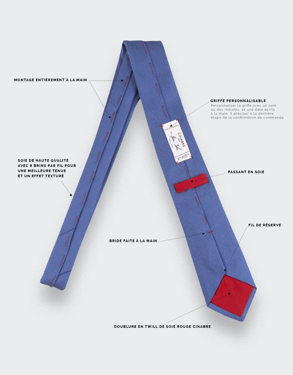 cravate soie tissée bleue denim - soie - cinabre paris