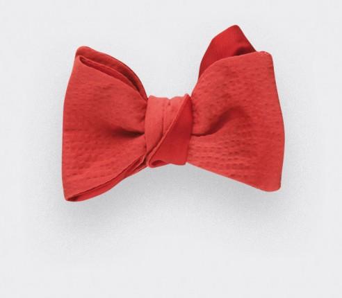 Noeud Papillon Seersucker Rouge - coton seersucker et soie - CINABRE Paris