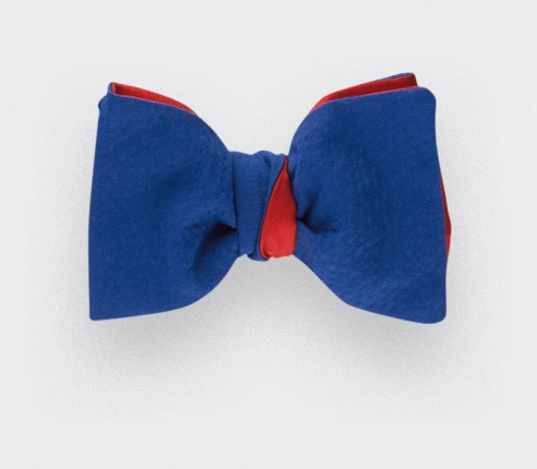Blue seersucker bow tie - seersucker cotton and silk - CINABRE Paris