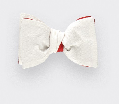 White seersucker bow tie - seersucker cotton and silk - CINABRE Paris