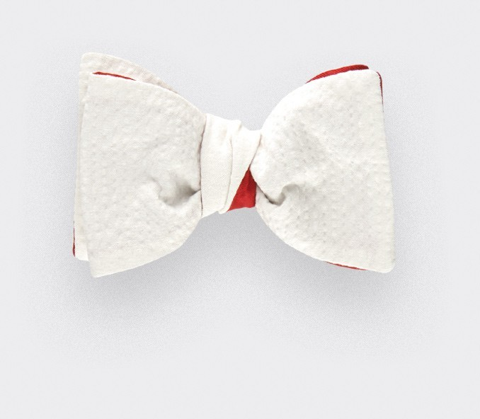 512ee0165b90 White seersucker bow tie - seersucker cotton and silk - CINABRE Paris
