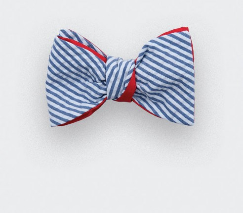 Blue stripes seersucker bow tie - seersucker cotton and silk - CINABRE Paris