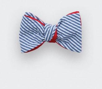 Blue stripes seersucker bow tie - seersucker cotton and silk - CINABRE Paris