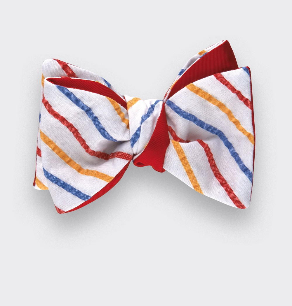 Multico stripes seersucker bow tie - seersucker cotton and silk - CINABRE Paris