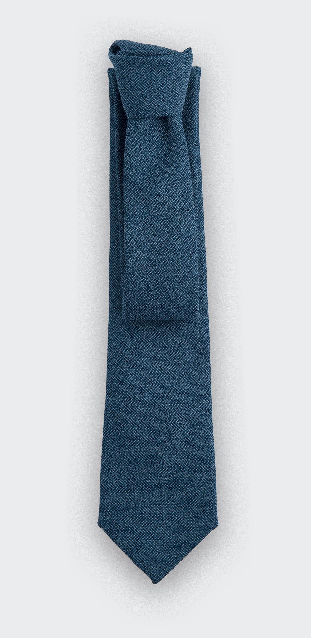 cravate maille bleu canard - laine - cinabre paris