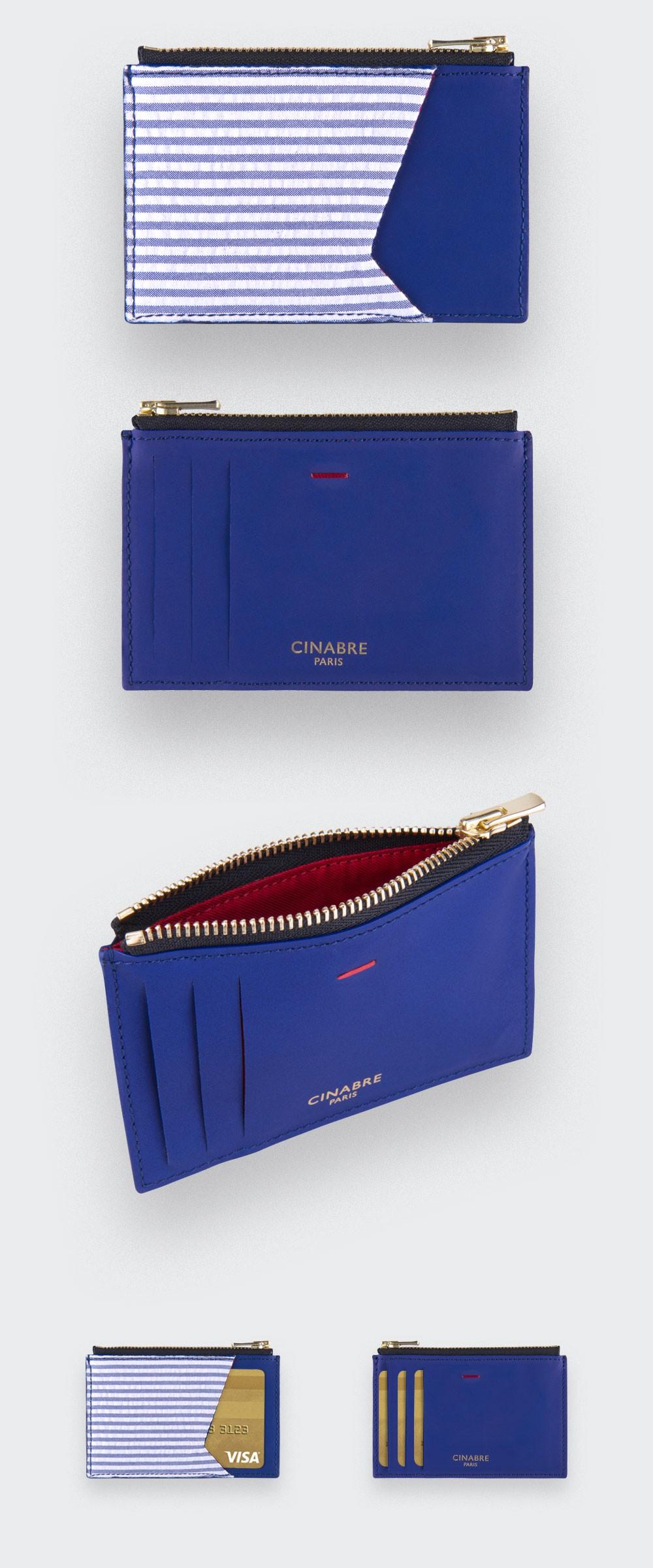 Card holder Seersucker - leather and seersucker - CINABRE Paris