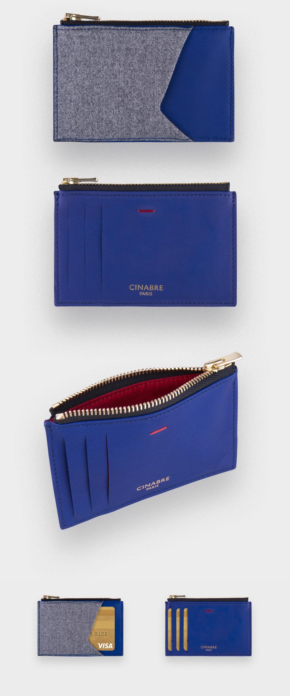 Porte cartes zip Flanelle Gris - cuir et laine - CINABRE Paris