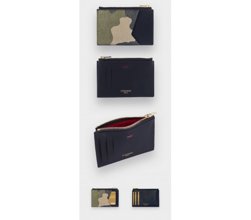 Card holder Opex Camo - leather and camouflage cotton - CINABRE Paris