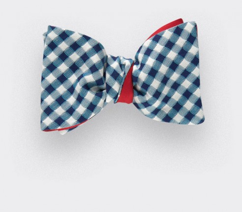 bow tie vichy marine - silk and cotton - Cinabre Paris