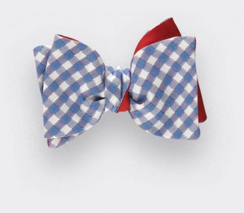Noeud Papillon Vichy bleu ciel - coton et soie - Cinabre Paris