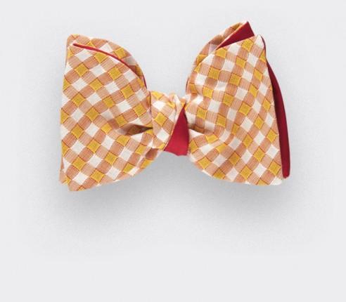 noeud papillon Vichy jaune - coton et soie - CINABRE Paris