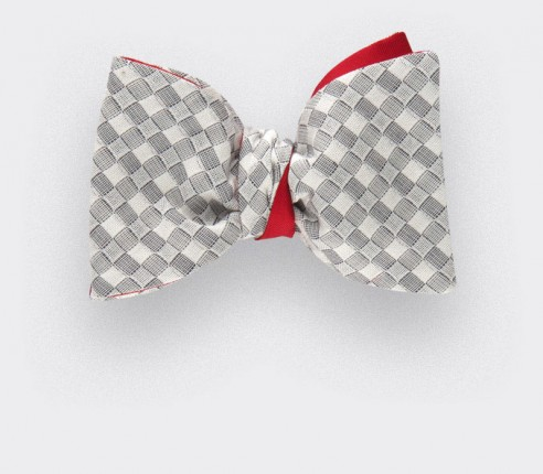bow tie white Vichy - cotton and silk - Cinabre Paris