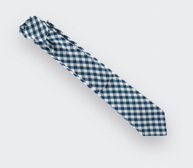 cravate vichy bleu marine - coton et soie - cinabre paris