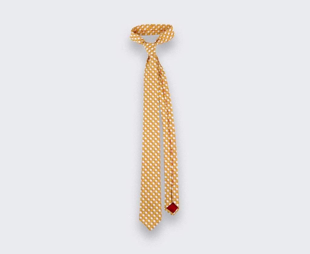 cravate vichy jaune - coton et soie - cinabre paris