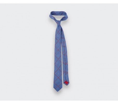 cravate agay denim - lin - cinabre paris