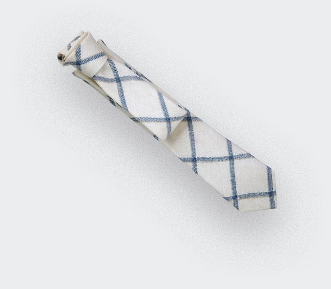 cravate agay blanc - lin - cinabre paris