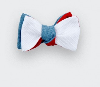 Bow tie Pique cotton denim - Made in France - Cinabre Paris