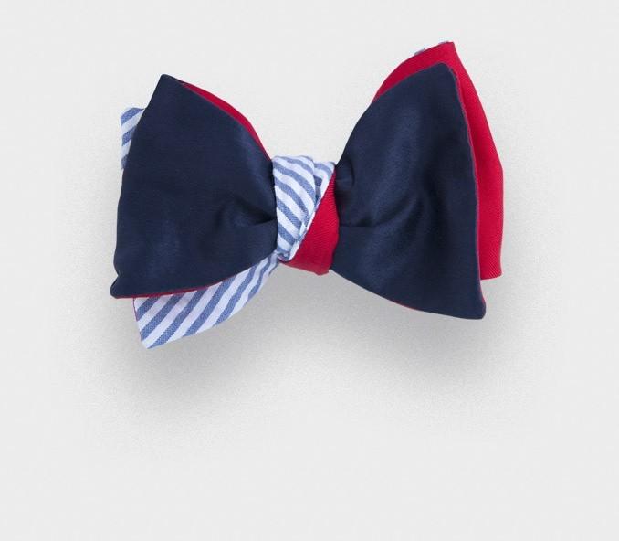 bow tie seersucker satin - silk and cotton - Cinabre Paris