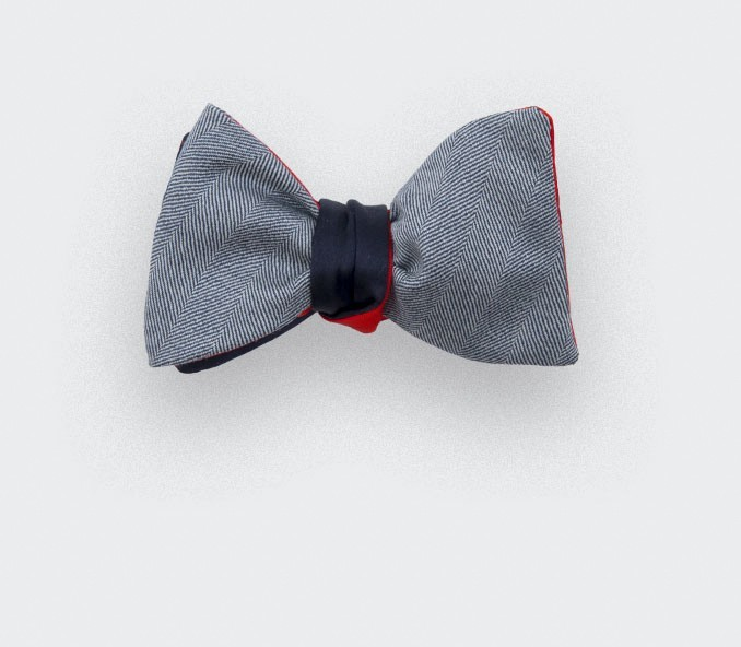 bow tie black parisian - silk wool - CINABRE Paris