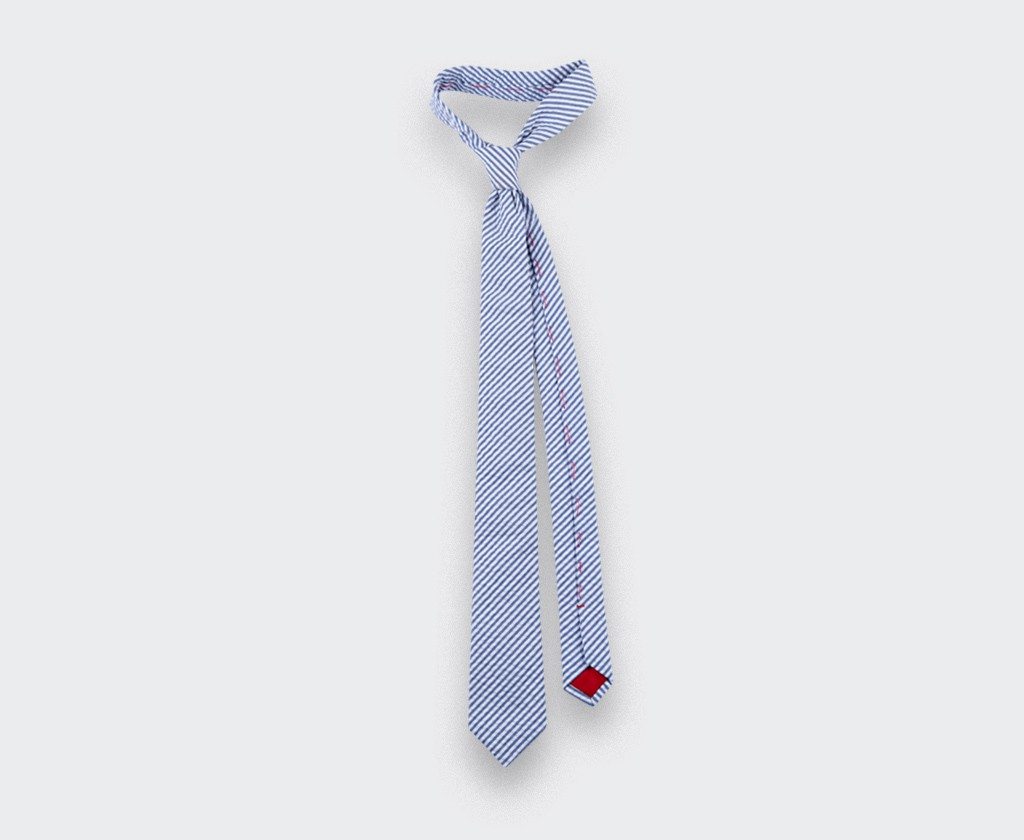 tie seersucker - cotton silk - cinabre paris