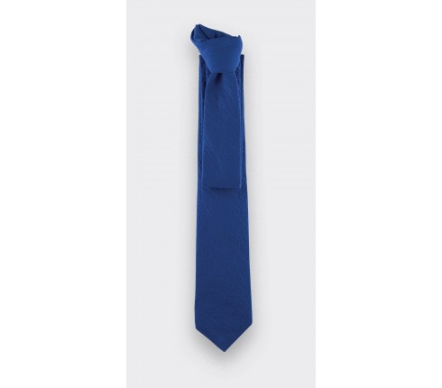 tie blue seersucker - cotton and silk - cinabre paris
