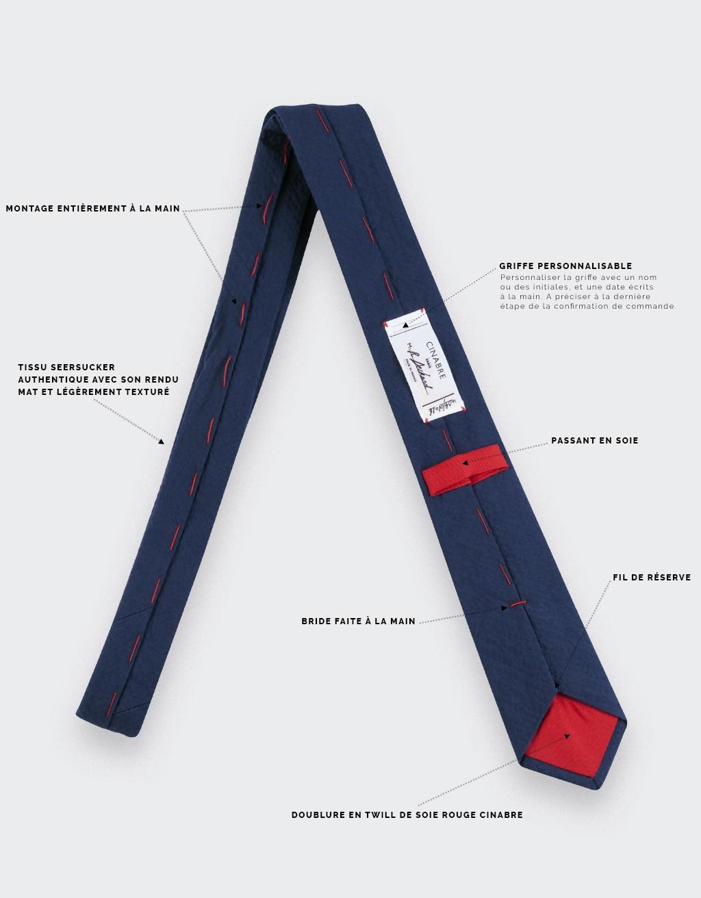 cravate seersucker bleu marine - coton et soie - cinabre paris