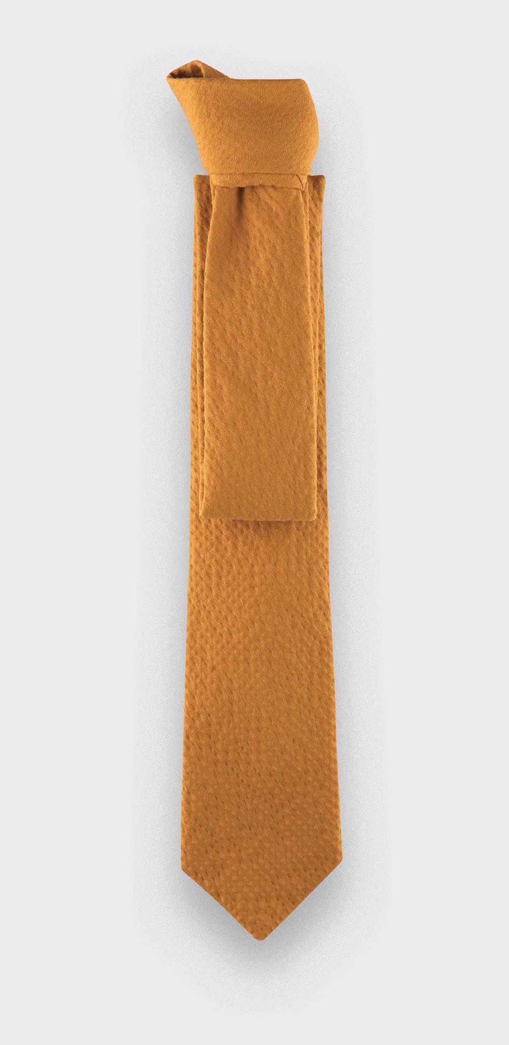 cravate seersucker moutarde - coton et soie - CINABRE Paris