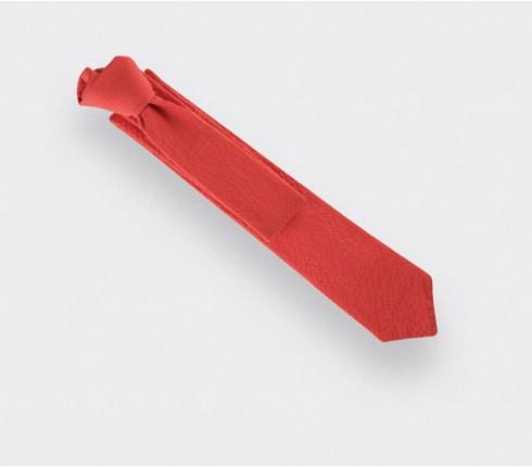 tie red seersucker - cotton silk - cinabre paris