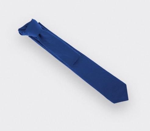 cravate seersucker bleu - coton et soie - cinabre paris