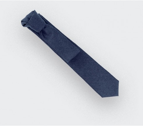 navy blue flannel tie - wool - cinabre paris