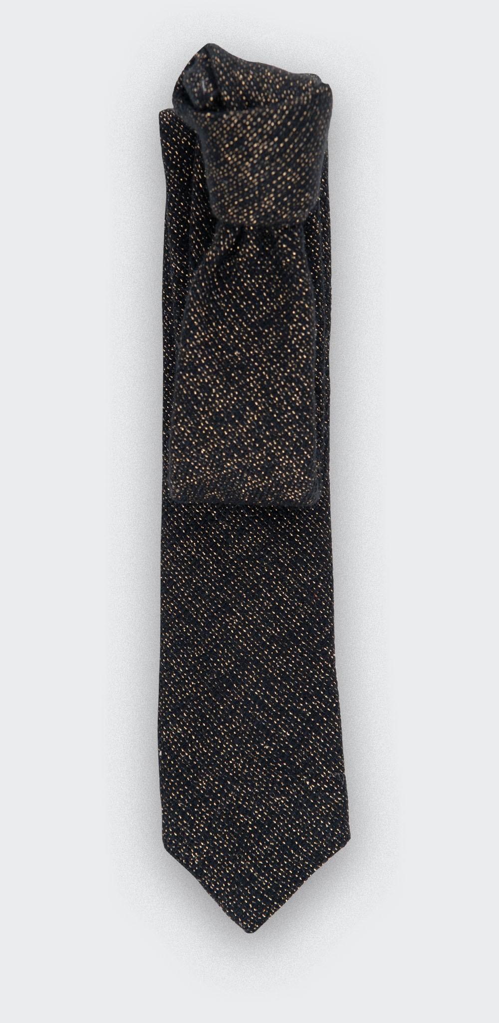cravate - or 1001 Nuits Noir - lurex laine - cinabre paris
