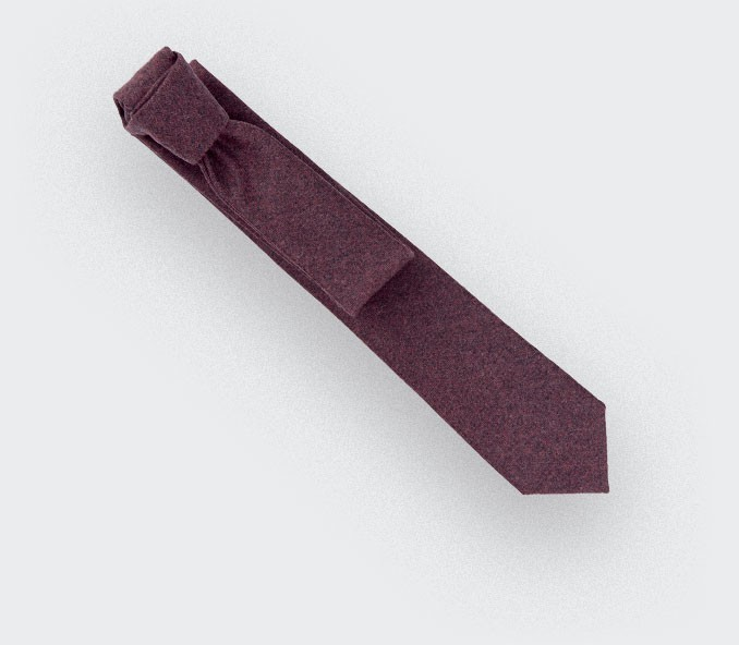 burgundy flannel tie - wool - cinabre paris