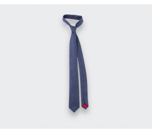 blue denim flannel tie - wool - cinabre paris